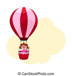 Little girl with ponytails flying in hot air balloon, aircraft