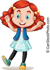 Little girl with red hair illustration
