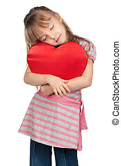 Little girl with red heart