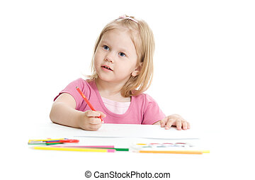 Little girl with red pencil isolated