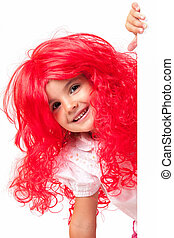 Little girl with red wig