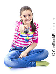 Little girl with remote control