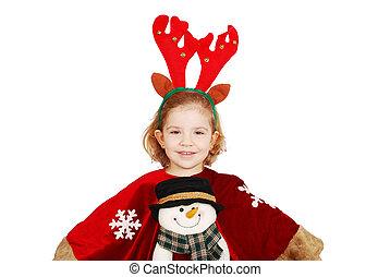 little girl with rudolf deer horn