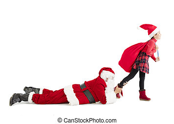 little girl with santa claus merry christmas concept