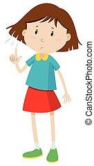 Little girl with short hair illustration