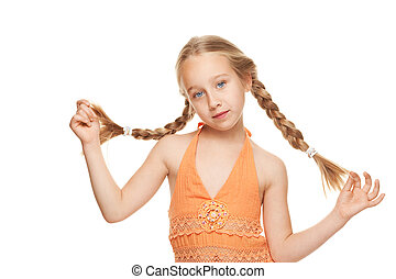 Little girl with side braids. Isolated on white background