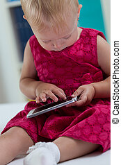 Little girl with smartphone