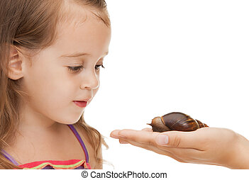 Little girl with snail