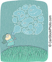Little Girl with Soap Bubbles: hand drawn vector illustration