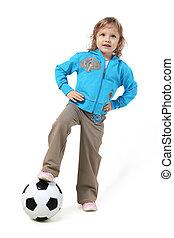 Little girl with soccer ball