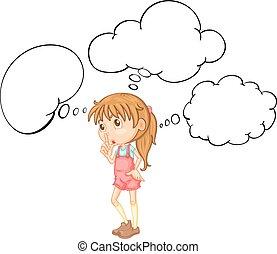 Little girl with speech bubble template