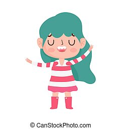 little girl with striped dress expression facial vector illustration