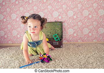 little girl with suitcase