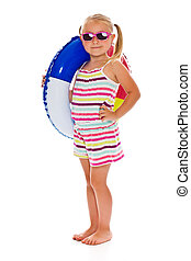 little girl with sunglasses and inflatable ring