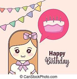 little girl with sweet cake in speech bubble