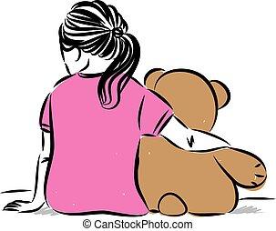 little girl with teddy bear vector illustration