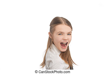 little girl with teeth braces closeup