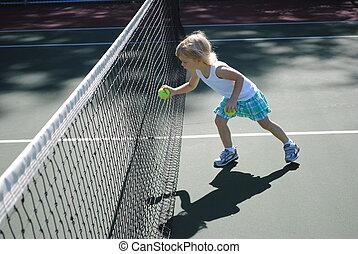 Little Girl with Tennis Ball