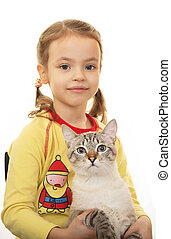 Little girl with Thai cat.
