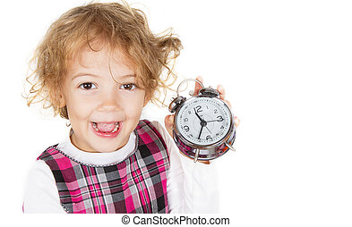 girl with the alarm clock in hand