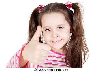 Little girl with the thumb up