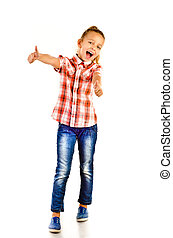 little girl with thumbs up isolated on a white background