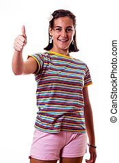 little girl with thumbs up