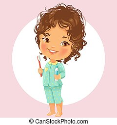 Little girl with tooth brush