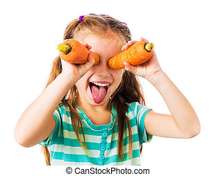 little girl with two carrots