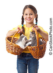 Little girl with two kittens in wicker - Little girl with...