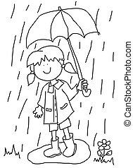 Little girl with umbrella cartoon - Large childlike cartoon...