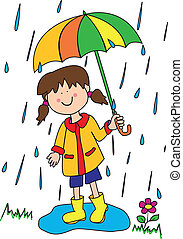 Childlike cartoon character: little girl with a big smile holding an umbrella and playing in the rain by stepping into a puddle with her rubber boots.