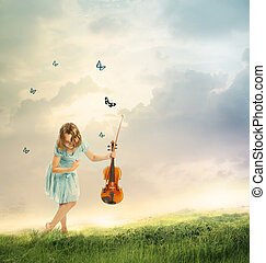 Little Girl with Violin in a Fantasy Landscape