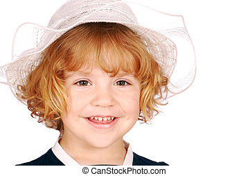 little girl with white hat portrait