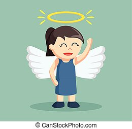 little girl with wings and angel halo