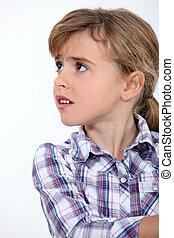 little girl worried