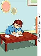 Little Girl Writing a Letter Illustration