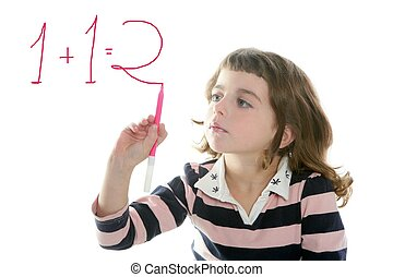 little girl writing add numbers marker transparent white...