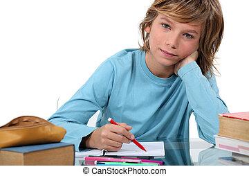 Little girl writing