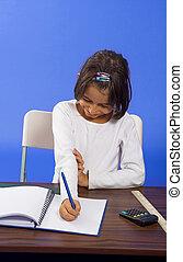 little girl writting