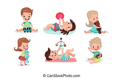 Little Girls And Boys Playing Having Fan With Various Toys Vector Illistrations Set