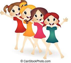 Little girls dancing ballet - colourfull