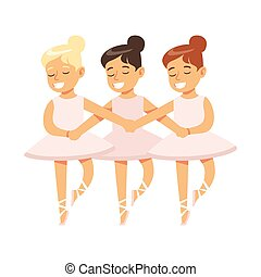 Little Girls Dancing Swans Lake Ballet In Classic Dance...