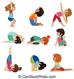 Little Girls Doing Yoga Set Of Bright Color Cartoon Childish...