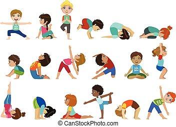 Little Girls Doing Yoga Set Of Bright Color Cartoon Childish...
