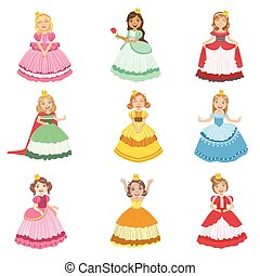 Little Girls Dressed As Fairy Tale Princesses Set Of Cute ...