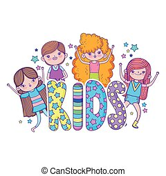 little girls group with kids word