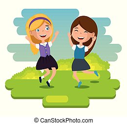 little girls happy characters vector illustration design