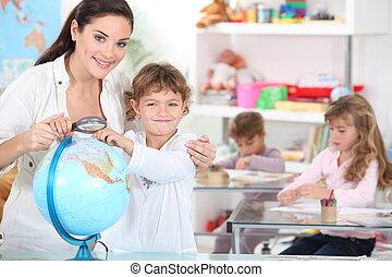 Little girls in classroom