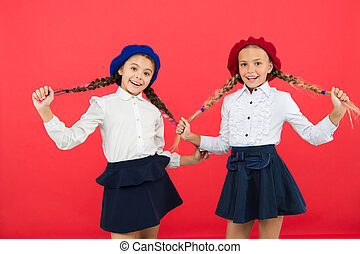 little girls in french beret. friendship and sisterhood....